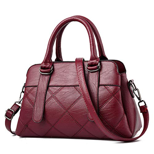 High Women's Shoulder Wine Red Pu Bag Quality Soft Leather Plaid ZZxHrC5wq