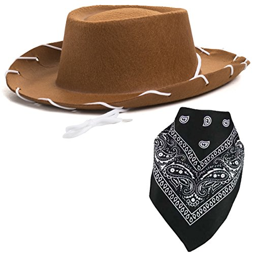 Brown Cowboy Hat for Kids - Cowboy Hat and Bandanna - Cowboy Costume - Cowboy Costume Accessories by Funny Party Hats]()