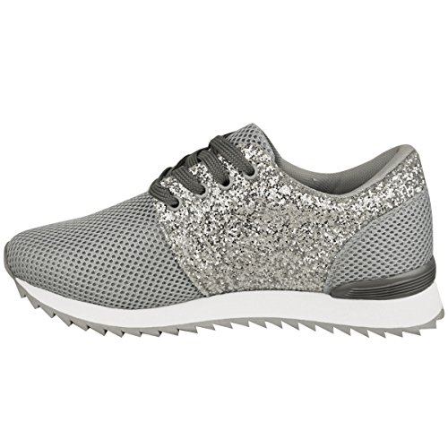 Fashion Thirsty Womens Sparkly Glitter Fashion Sneakers Trainers Sports Casual Plimsolls Size Grey Mesh / Silver Glitter L60v0IydU