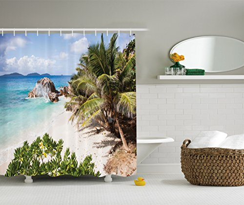- Ambesonne Seaside Decor Collection, Small Tropical Beach with Palm Trees Tropical Plants Sand Granite Rocks Seychelles La Digue, Polyester Fabric Bathroom Shower Curtain, Blue Ivory Green