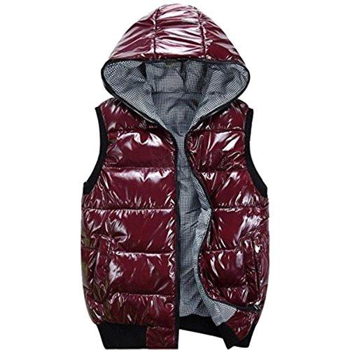 Hooded Rose Windproof Outwear Winter Waterproof Sleeveless Down Vest Puffer Mens Jacket Down KINDOYO Coat waTxCXqR