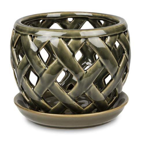 Pennington Lattice Design Pot and Saucer Set for Orchids 6-inch (Bronze)