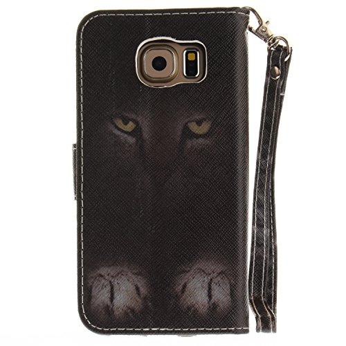 Para Samsung Galaxy S6 funda, (lobo) caja del teléfono de la PU patrón en pintado ,Función de Soporte Billetera con Tapa para Tarjetas correa de mano soporte para teléfono misterioso gato