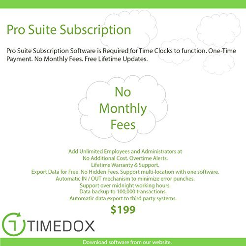Timedox Silver Snow | Wi-Fi Biometric Fingerprint Time Clock | $0 Monthly fees | Wi-Fi Data Download | Requires Pro Suite Subscription ONE-TIME Payment | DYNAMIC Reports | OVER TIME notifications by Timedox (Image #2)