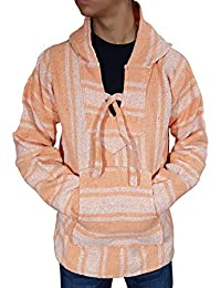 Genuine Mexican Baja Hoodie Pullover Poncho- Brushed Inside For an Ultra Soft Feel- For Men & Women