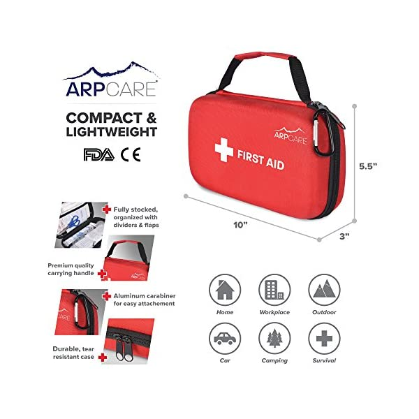Compact First Aid Medical Kit 121 Piece Hard Carry Case Perfect For Home Car Camping Office Travel Hiking And Sports