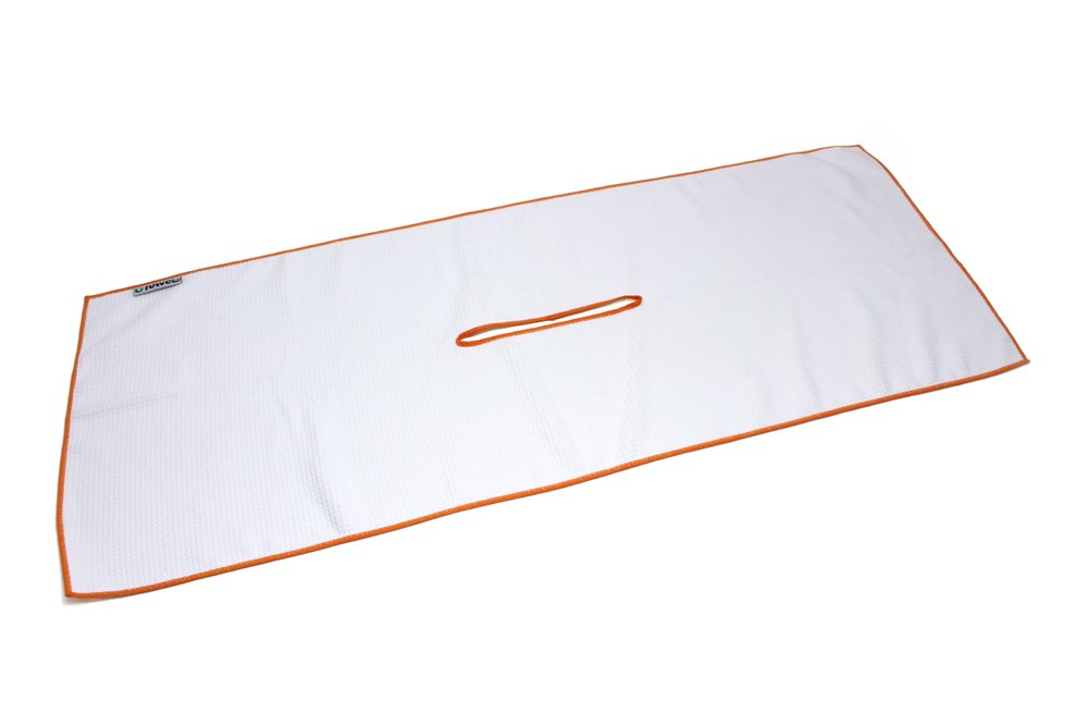 G-TOWEL Center Cut Microfiber Golf Towel 16''x40'' (White w/ Orange Edge)