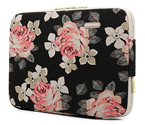 KAYOND Black Rose Patten canvas Water-resistant 13.3 Inch Laptop Sleeve - http://coolthings.us