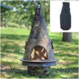 Blue Rooster Garden Style Wood Burning Outdoor Metal Chiminea Fireplace Gold Accent Color with Large Black Cover