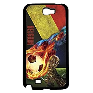 Black, Red, and Yellow Grunge Belgium Team Flag with Colorful Fiery Soccer Ball Hard Snap on Phone Case (Note 3 III)