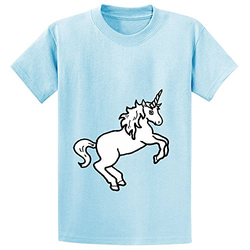 Mcol Unicorn White Kid's Crew Neck Short Sleeve Shirts L-blue