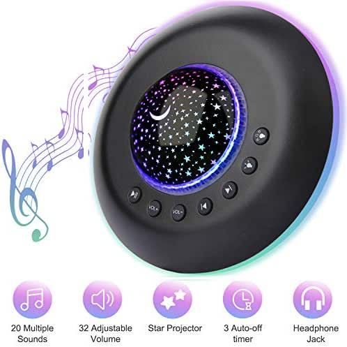 White Nosie Sound Machine Sendowtek Sound Machine with Baby Night Light for Sleeping, 20 Hi-Fi Nature Soothing Sounds 10 Modes Colored Light Timer Memory Sleep Sound Therapy for Home Office Travel