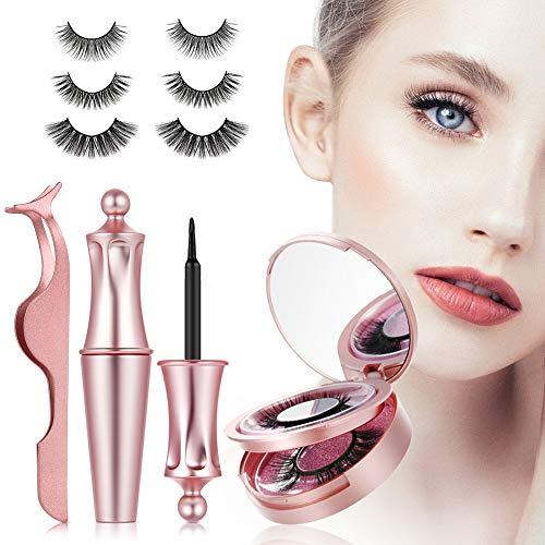 3D magnetische Wimpern mit Eyeliner, magnet Wimpern, künstliche falsche Wimpern,magnetic Eyelashes mit Zange Wasserdicht und wiederverwendbar