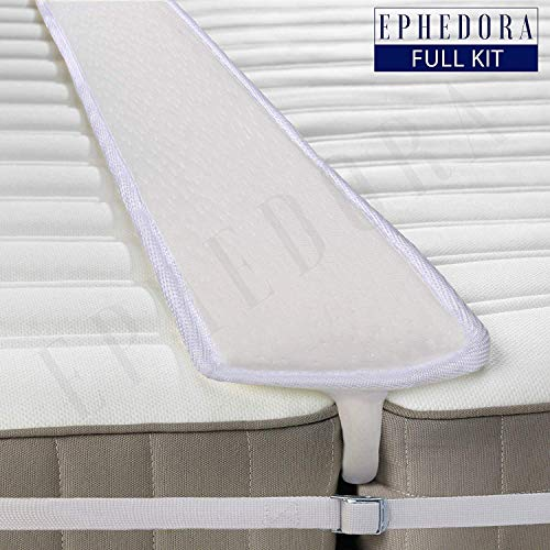 EPHEDORA Bed Bridge Twin to King Converter Kit - Mattress Extender Set to Fill in Gap - Memory Foam Filler Pad and Connector Strap - for Guest and Family -