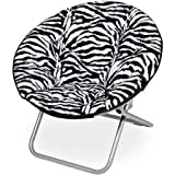 225 lbs Capacity Saucer Folding Chair Faux Fur fabric in Zebra