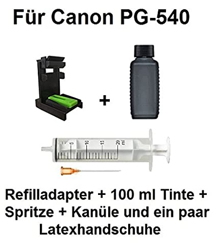 Adaptador de llenado para Canon PG-540/PG-540 XL + 100 ml de tinta Ink