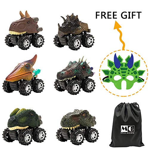 MOONBROOK Dinosaur Cars-Pull Back Dinosaur Vehicle Set(7PACK) Big Tire Wheel Vehicles Car Toy-Mini Pull Back Animal Car Toy for Boys Girls