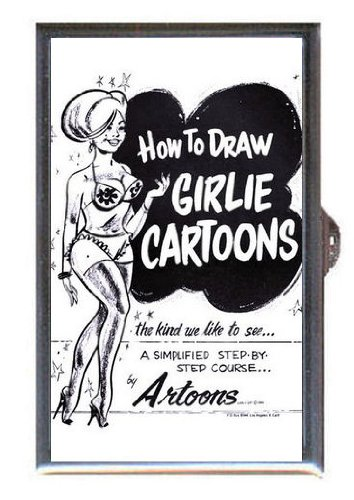 How to Draw Girlie Cartoons Pin Up Showgirl, Guitar Pick or Pill Box USA Made