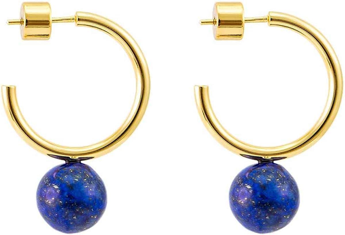 CUHAWUDBA Pendientes de Aro con Pu?o Abierto Chapado en Oro Pendientes de Aro con Perlas de Piedras Preciosas Pendientes Minimalistas para Mujeres(Peque?o C Shape Oro & Lapis Lazuli)