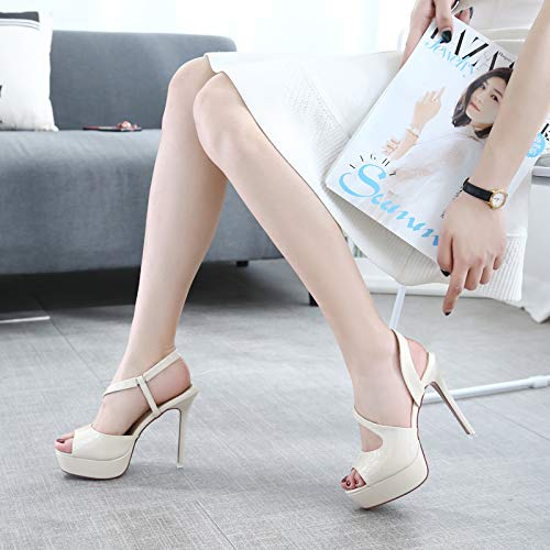 Butterfly Hollowed Mouth High Fish Commutes Shoes Out Lady Sandals Summer Sole Eye Beige 12Cm Thick Shallow Sexy Mouth KPHY qwZzOEnH