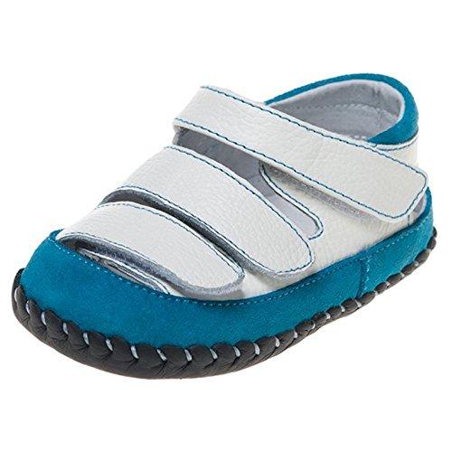 Little Blue Lamb - Zapatos de bebe primeros pasos de cuero niños | Sandalias azules y blancas Multi