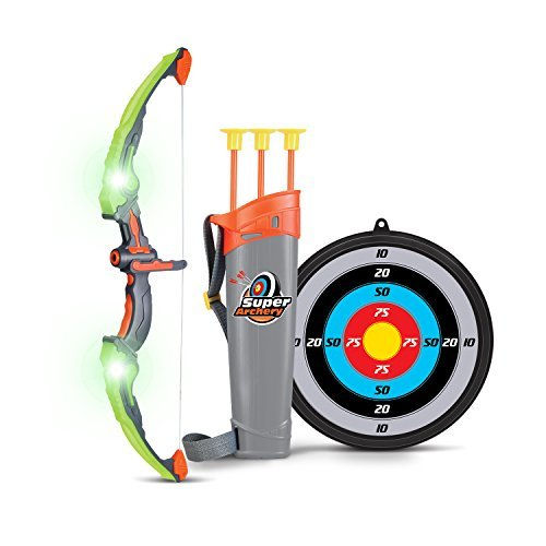 SainSmart Jr. Kids Bow and Arrow Toy, Basic Archery Set Outdoor Hunting Game with 3 Suction Cup Arrows, Target and Quiver -