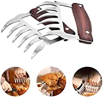JEANTRIX Meat Claws BBQ Pulled Pork Bear Claws Meat Shredder Claw Stainless Steel with Heat Resistant Wood Handle for...