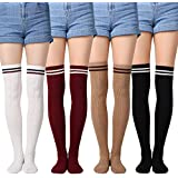 Yolev Women Over-knee High Socks Girls Thigh Highs Cotton Stockings 4-Pack