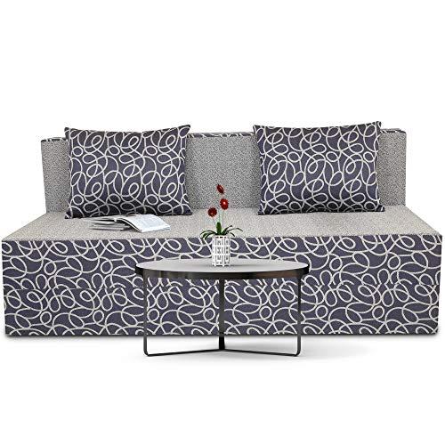 Adorn India Easy Three Seater Sofa Cum Bed Poly Cotton (Blue & Grey) 5'X6′