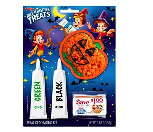 Rice Krispies Treats Halloween Treat Decorating Crafty Kits (Pumpkin Shape - Green & Black Icing) -