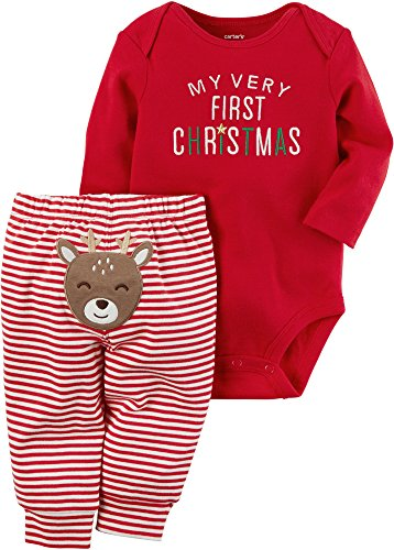 Carter's Baby My 1st Christmas Reindeer 2-Piece Bodysuit Pants Set 3 Months Red]()