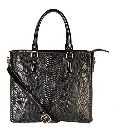 rimen-co-faux-snakeskin-embossed-pu-patent-leather-structured-tote-handbag-sw-2823-black