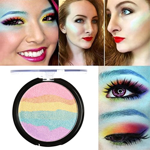 Focallure Rainbow Highlight Eyeshadow Palette Baked Blush Fa