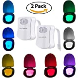 Gold Toilet Toilet Night Light - Gold Armour Toilet Nightlight Motion-Activated 8 Colors LED Toilet Seat Night Light, Toilet Bowl Light (2 Pack)