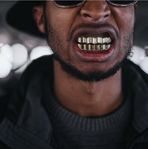 24K Plated Gold Grillz for Mouth Top Bottom Hip Hop Teeth Grills For Teeth Mouth + 2 Extra Molding Bars, Storage Case + Microfiber Cloth by Top Class Jewels (Image #1)