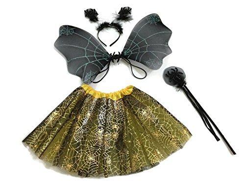 Pictures Of Black Widow Costumes (Rush Dance Halloween Black & Yellow Spider Fairy- Wings, Wand, Headband & Tutu)