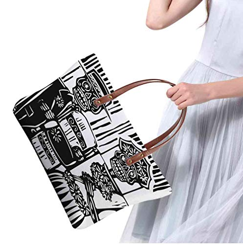 Custom Handbag Tote Shopping Bags Day of the Dead,Woodcut Style Skeleton Couple Wedding in Cemetery Image with Bride Groom,Black White Printing Makeup Tote Bag Large ()