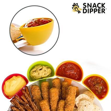 qtimber Cuencos para Salsas Snack Dipper (pack de 4) 10.5 x 9.5 x 8