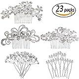 REVEW Set of 23pcs Bridal Hair Comb Wedding Hair Side Combs Bridal Head Pin Headpiece Crystal Pearls Flower Bride Bridesmaid