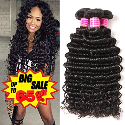 VRBest Brazilian Deep Wave 100% Unprocessed Virgin Brazilian Hair Bundles Deep Curly Human Hair Extensions Natural Color (10 12 14) ()