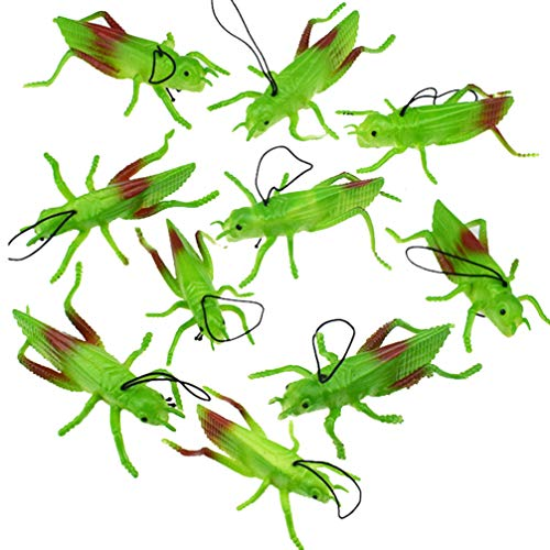Toyvian 10pcs Plastic Grasshoppers Insect Figures Toys Fake Bugs Green for Insect Themed Party Children (Giant Grasshopper)