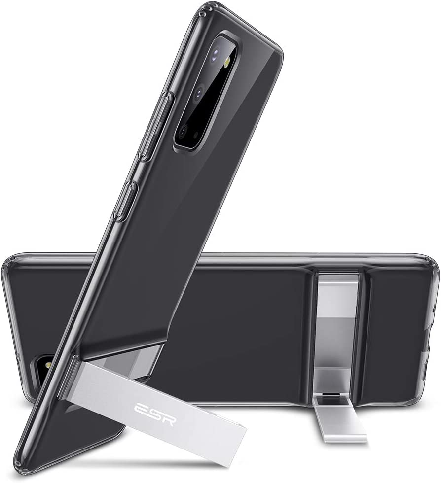 ESR Funda Metal Kickstand para Samsung S20 / S20 5G [Soporte Vertical y Horizontal][Protección Reforzada contra Caídas][Funda TPU Flexible para Samsung Galaxy S20 / S20 5G] Negro Translúcido