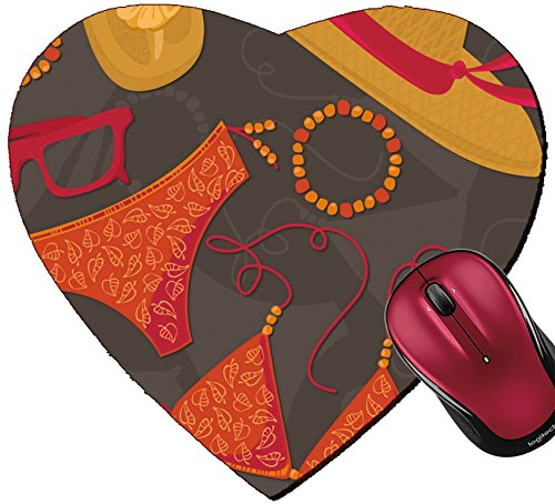 Liili Mousepad Heart Shaped Mouse Pads/Mat ID: 25665160 bikini hut sunglasses bracelets flip flops summer outfit illustration elements on dark background - Sunglasse Hut