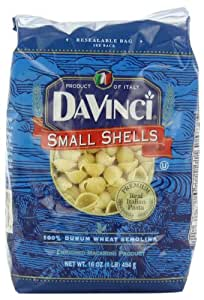 DaVinci Pasta Short Cuts, Small Shells, 16 Ounce Bags (Pack of 12)