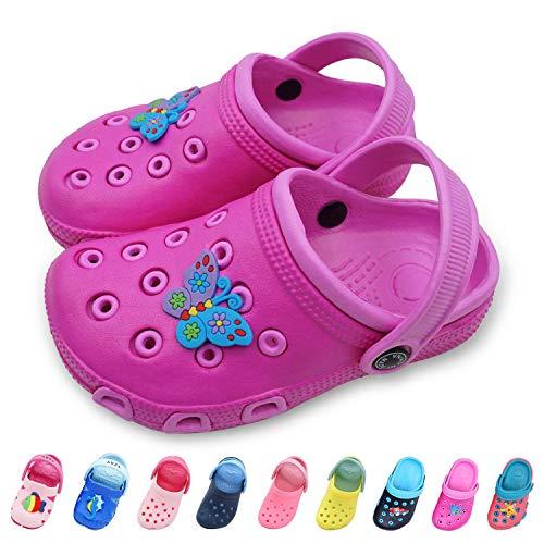 Namektch Toddler Little Kids Clogs Slippers Sandals, Non-Slip Girls Boys Slide Lightweight Garden Slip-on Shoes Beach Pool Shower Slippers (8-8.5 M US Toddler, Rose Red)