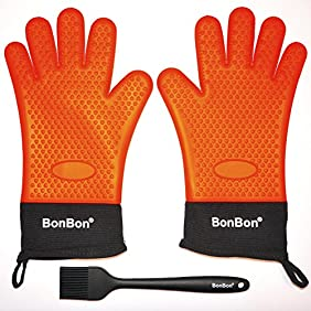 BonBon Silicone Heat Resistant Lined and insulated Barbecue Gloves and Brush Set - Orange
