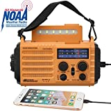 Solar Hand Crank Portable NOAA Weather Radio, 5-Way Powered AM/FM/SW Emergency Radio for Household and Outdoor with 2000mAh Battery Power Bank,USB Charger,SOS Alarm&Compass,LED Flashlight,Reading Lamp