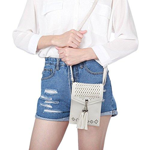 Women Small Crossbody Bag, seOSTO Tassel Cell Phone Purse Wallet Bags (White) … by seOSTO (Image #2)