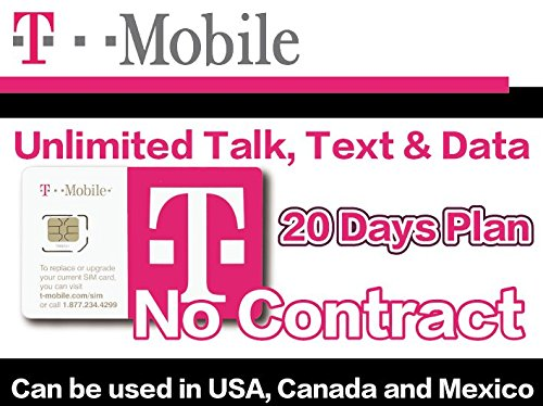 T-Mobile Prepaid SIM Card Unlimited Talk, Text, and Data (USA, Canada and Mexico) for 20 days - T Mobile Sim Prepaid