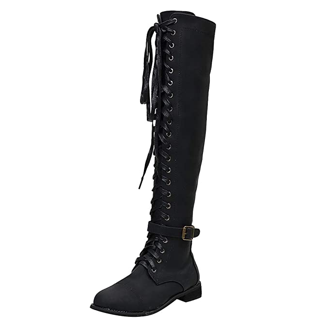 Over the Knee Lace Up Military Boots